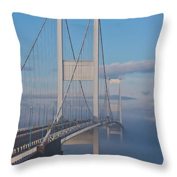 Mist Over The Severn Throw Pillow by Brian Roscorla