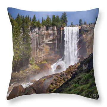 Mist Trail And Vernal Falls Throw Pillow