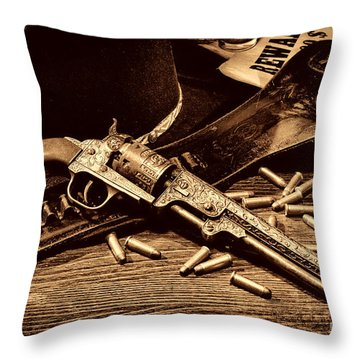Mister Durant's Revolver Throw Pillow by American West Legend By Olivier Le Queinec