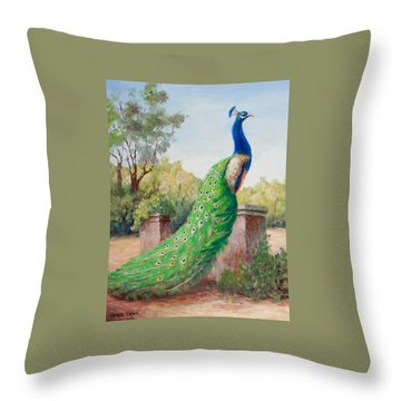 Mister Peacock Throw Pillow