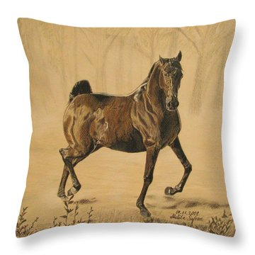 Mistical Horse Throw Pillow by Melita Safran