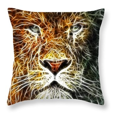 Throw Pillow featuring the mixed media Mistical Lion by Paul Van Scott