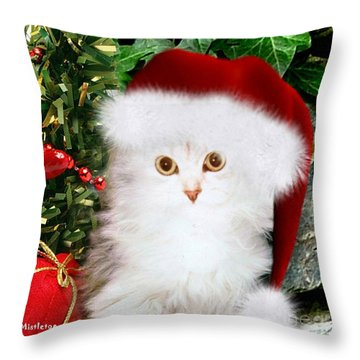 Mistletoe At Christmas Throw Pillow by Morag Bates