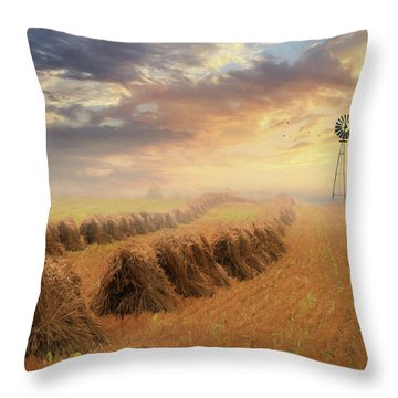 Throw Pillow featuring the photograph Misty Amish Sunrise by Lori Deiter