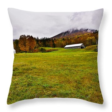 Misty Autumn At The Farm Throw Pillow