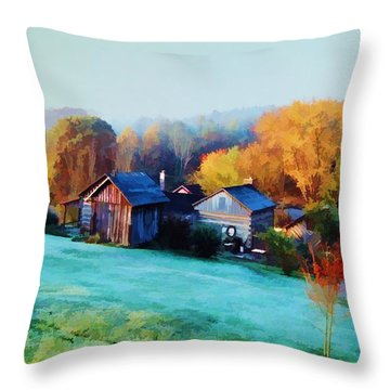 Misty Autumn Day Throw Pillow