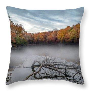 Misty Autumn Lake Throw Pillow