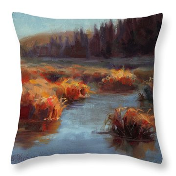 Throw Pillow featuring the painting Misty Autumn Meadow With Creek And Grass - Landscape Painting From Alaska by Karen Whitworth