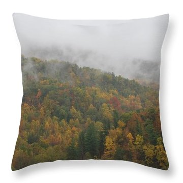 Misty Autumn Throw Pillow