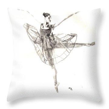 Misty Ballerina Dancer IIi Throw Pillow
