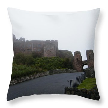 Misty Bamburgh Castle Throw Pillow
