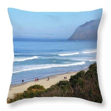 Misty Beach Morning Throw Pillow