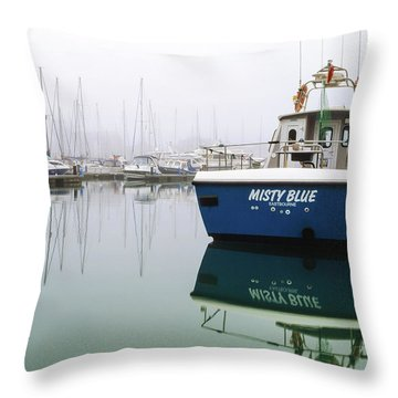 Throw Pillow featuring the photograph Misty Blue, Sovereign Harbour, Eastbourne by Will Gudgeon