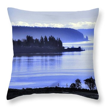 Throw Pillow featuring the photograph Misty Blue Steilacoom by Chris Anderson