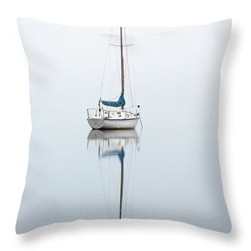 Throw Pillow featuring the photograph Misty Boat by Grant Glendinning