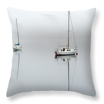 Throw Pillow featuring the photograph Misty Boats by Grant Glendinning