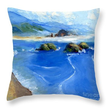 Misty Bodega Bay Throw Pillow by Randy Sprout