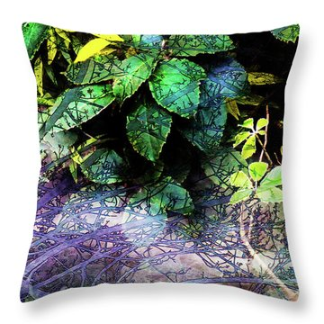 Misty Branches Throw Pillow by Deborah Nakano