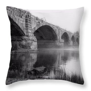 Misty Bridge Throw Pillow
