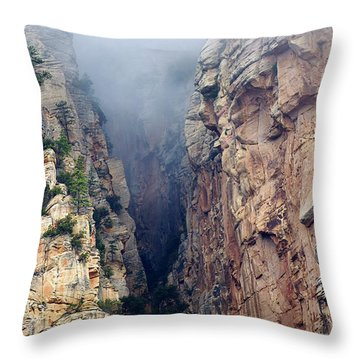 Throw Pillow featuring the photograph Misty Canyons by Phyllis Denton