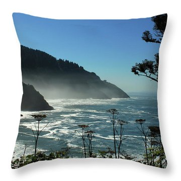 Misty Coast At Heceta Head Throw Pillow
