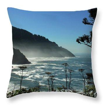 Misty Coast At Heceta Head Throw Pillow by James Eddy