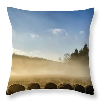 Throw Pillow featuring the photograph Misty Country Morning by Thomas R Fletcher
