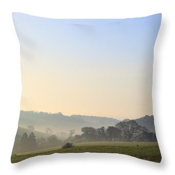 Misty Dawn Over The Cornish Countryside Throw Pillow