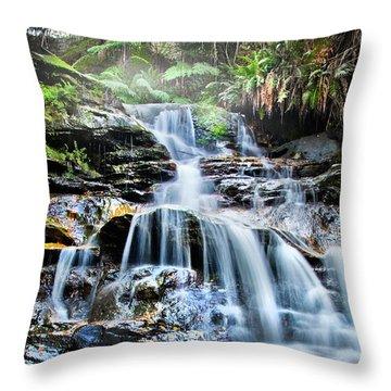 Misty Falls Throw Pillow by Az Jackson