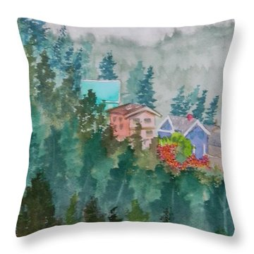Misty Fog And Color Over Ketchikan Alaska Throw Pillow by Warren Thompson