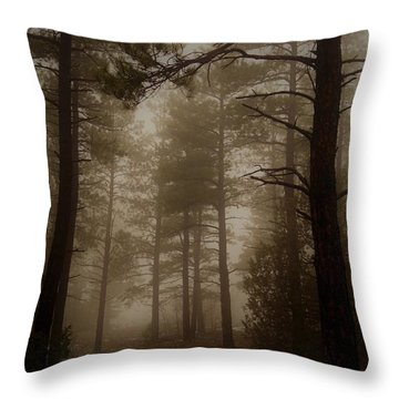 Misty Forest Morning Throw Pillow