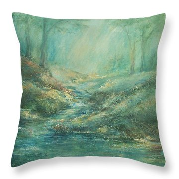 The Misty Forest Stream Throw Pillow by Mary Wolf