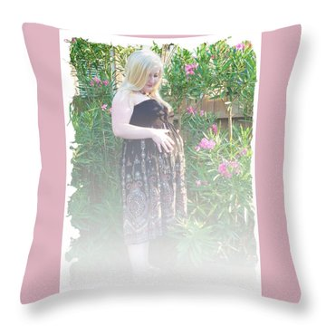 Misty Garden Pose Throw Pillow