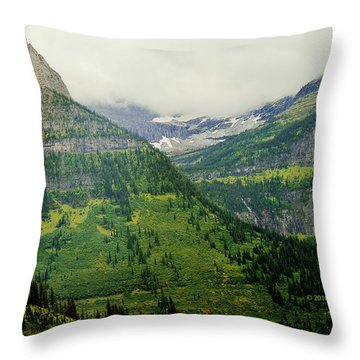 Misty Glacier National Park View Throw Pillow
