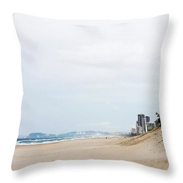 Misty Gold Coast Beach Throw Pillow by Susan Vineyard