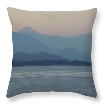 Misty Hills On The Strait Throw Pillow
