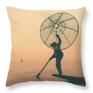 Misty Inle Throw Pillow