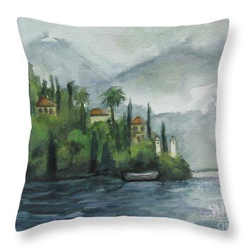 Misty Island Throw Pillow by Laurie Morgan