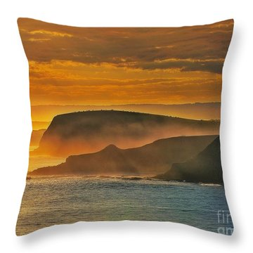Misty Island Sunset Throw Pillow