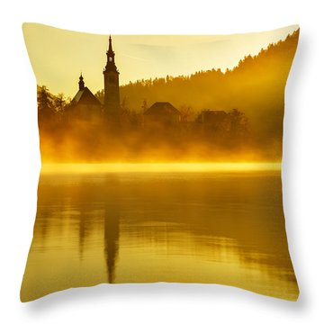 Misty Lake Bled At Sunrise Throw Pillow