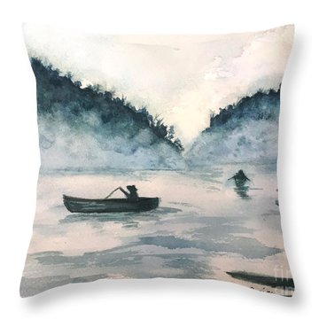Misty Lake Throw Pillow by Lucia Grilletto