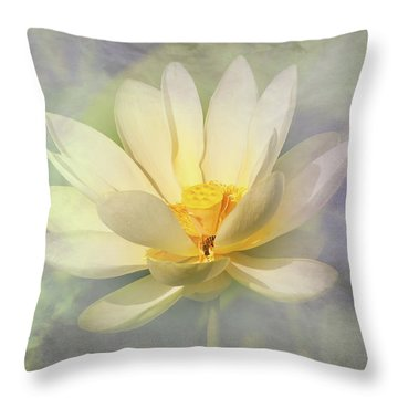 Misty Lotus Throw Pillow by Carolyn Dalessandro