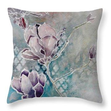 Misty Magnolias Throw Pillow