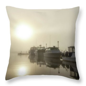 Throw Pillow featuring the photograph Misty Marina by Heather Kenward