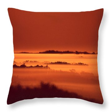 Misty Meadow At Sunrise Throw Pillow