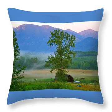 Misty Montana Evening Throw Pillow