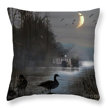 Misty Moonlight Throw Pillow