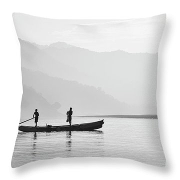 Misty Morning 3 Throw Pillow by Kiran Joshi