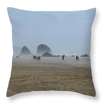 Misty Morning At Cannon Beach Throw Pillow