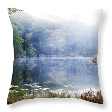 Throw Pillow featuring the photograph Misty Morning At John Burroughs #1 by Jeff Severson